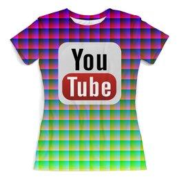 """Футболка с полной запечаткой (женская) """"YouTube"""" - арт, дизайн, знак, абстракция, символ"""
