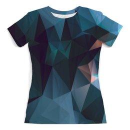"""Футболка с полной запечаткой (женская) """"Blue Abstract"""" - абстракция, треугольники, triangle, polygon, полигон"""