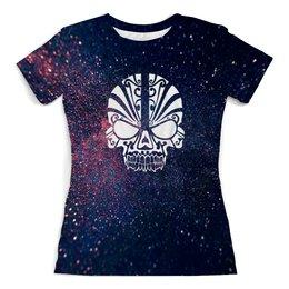 """Футболка с полной запечаткой (женская) """"Космос"""" - череп, звезды, космос, небо, блеск"""