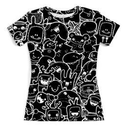"""Футболка с полной запечаткой (женская) """"Black and white doodles"""" - стиль, дизайн, звери, doodles, дудлы"""