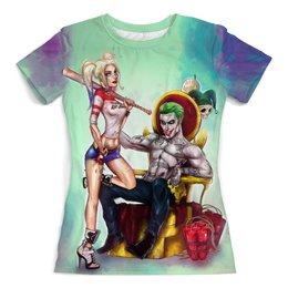 """Футболка с полной запечаткой (женская) """"Harley Quinn and Joker"""" - джокер, харли квинн, dc комиксы, суперзлодеи, безумная любовь"""