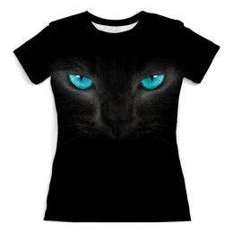 """Футболка с полной запечаткой (Женская) """"Взгляд черной кошки"""" - для девушек, cat, кошки, черная кошка, взгляд кошки"""