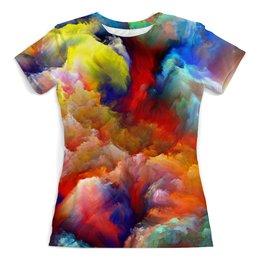 """Футболка с полной запечаткой (женская) """"color explosion"""" - colors, настроение, sky, краски, background"""