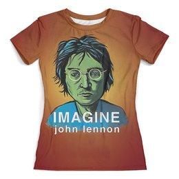 """Футболка с полной запечаткой (женская) """"Джон Леннон"""" - музыка, битлз, музыкант, бас гитарист"""