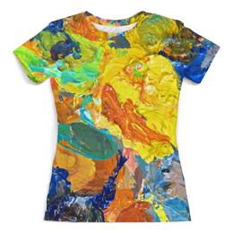 """Футболка с полной запечаткой (Женская) """"""""Краска на палитре"""""""" - желтый, искусство, разноцветный, художник, пестрый"""