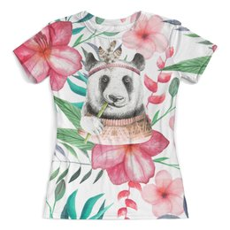 """Футболка с полной запечаткой (женская) """"Тропики"""" - цветы, животные, панда, природа, перья"""