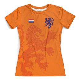 """Футболка с полной запечаткой (женская) """"Сборная Голландии"""" - футбол 2018, футбольные команды, нидерланды, футбол, сборная голландии"""