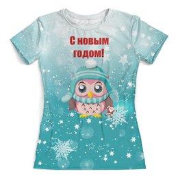"""Футболка с полной запечаткой (женская) """"Новый год"""" - новый год, снег, сова, снежинки, дед мороз"""