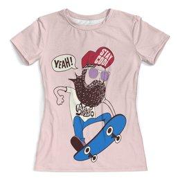 """Футболка с полной запечаткой (женская) """"Скейтер с бородой"""" - скейт, cool, борода, yeah, stay cool"""