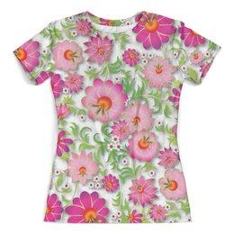 """Футболка с полной запечаткой (женская) """"Розовые цветы"""" - цветы, весна, розовый, узор, цветочки"""