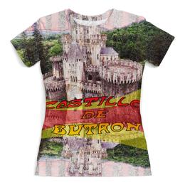 """Футболка с полной запечаткой (Женская) """"Замки Испании. Замок Бутрон."""" - желтый, испания, замок, полоски, крепость"""