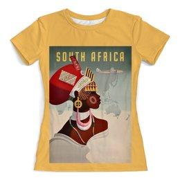 """Футболка с полной запечаткой (женская) """"Южная Африка"""" - ретро, африка, винтаж, постер"""