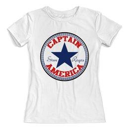 """Футболка с полной запечаткой (женская) """"Капитан Америка"""" - марвел, капитан америка, captain america"""