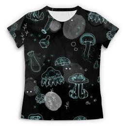 """Футболка с полной запечаткой (Женская) """"Медузы (жен.)"""" - неон, медузы"""