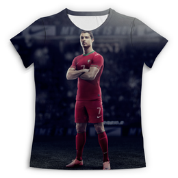 """Футболка с полной запечаткой (Женская) """"Ronaldo"""" - футбол, real madrid, реал мадрид, криштиану роналду, португалия"""