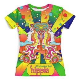 """Футболка с полной запечаткой (женская) """"Hippie"""" - любовь, хиппи, общество, мировозрение"""