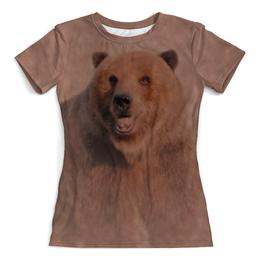 """Футболка с полной запечаткой (Женская) """"Медведь"""" - медведь, животное, коричневый, бурый"""