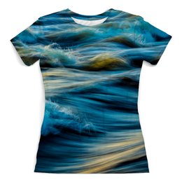 """Футболка с полной запечаткой (женская) """"Волны"""" - природа, абстракция, вода, волны, текстура"""