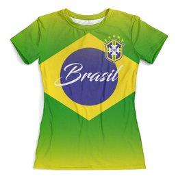 """Футболка с полной запечаткой (женская) """"Сборная Бразилии """" - футбол, бразилия, сборная бразилии, футбол 2018, футбольные команды"""