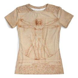 """Футболка с полной запечаткой (женская) """"Леонардо да Винчи"""" - рисунок, человек, да винчи"""