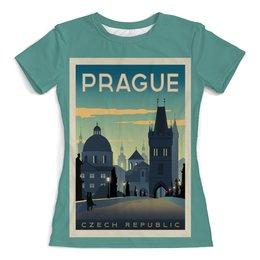 """Футболка с полной запечаткой (женская) """"Прага"""" - ретро, винтаж, постер, чехия"""