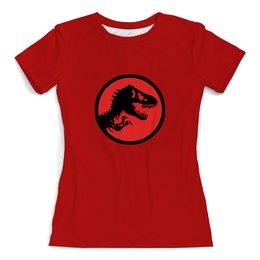 """Футболка с полной запечаткой (женская) """"Jurassic Park"""" - фильмы, динозавры, парк юрского периода, jurassic park"""