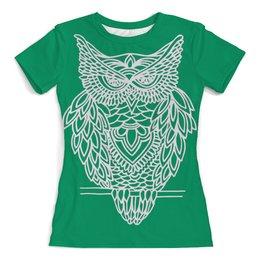 """Футболка с полной запечаткой (женская) """"Совушка"""" - арт, сова, совушка, owl"""