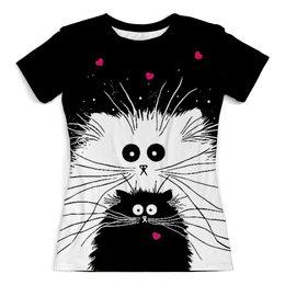 """Футболка с полной запечаткой (женская) """"Белый кот черная кошка"""" - любовь, сердечки, котики, кошачья любовь"""