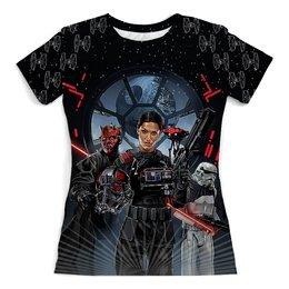 """Футболка с полной запечаткой (женская) """"Star Wars Design"""" - фантастика, star wars, звездные войны, звезда смерти, дарт мол"""