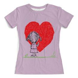 """Футболка с полной запечаткой (женская) """"Рисует сердце"""" - любовь, день святого валентина, девочка, трава, loves"""