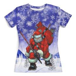 """Футболка с полной запечаткой (женская) """"SantaNinja"""" - новый год, зима, дед мороз, санта клаус, с мечем"""