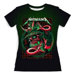 """Футболка с полной запечаткой (женская) """"Metallica """" - музыка, металлика, хеви метал, меломану"""