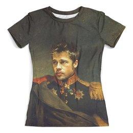"""Футболка с полной запечаткой (женская) """"Brad Pitt"""" - актер"""