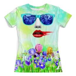 """Футболка с полной запечаткой (женская) """"True Romance"""" - любовь, цветы, помада, солнцезащитные очки, настоящая любовь"""