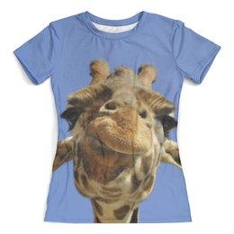 """Футболка с полной запечаткой (женская) """"Жираф"""" - прикол, животные, небо, жираф, морда"""