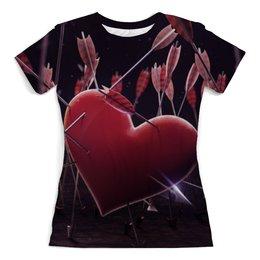 """Футболка с полной запечаткой (женская) """"Сердце и стрелы"""" - сердце, рисунок, стрелы"""