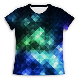 """Футболка с полной запечаткой (Женская) """"Треугольники"""" - арт, цвета, треугольники"""