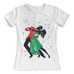 """Футболка с полной запечаткой (женская) """"Танцы. Танго"""" - рисунок, танцы, графика, минимализм, танго"""