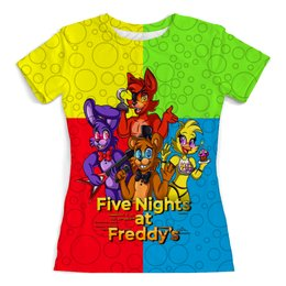 """Футболка с полной запечаткой (женская) """"Five Nights at Freddy's"""" - мультфильмы, игрушки, куклы, пять ночей у фредди, игроманам"""