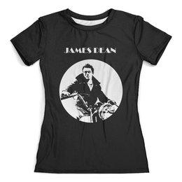 """Футболка с полной запечаткой (женская) """"James Dean Джеймс Дин"""" - стиль, легенда, джеймс дин, james dean, бунтарь"""