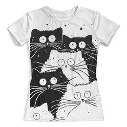 """Футболка с полной запечаткой (женская) """"Белый кот черная кошка"""" - кошечки, мимимишки"""