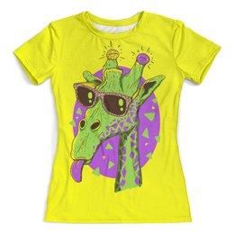 """Футболка с полной запечаткой (женская) """"Забавный жираф"""" - жираф, сафари, очки"""