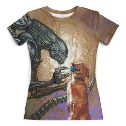 """Футболка с полной запечаткой (женская) """"Alien&Dog (new)"""" - юмор, собака, ужастик, чужой, арт дизайн"""