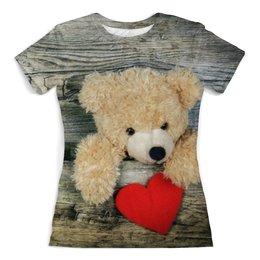 """Футболка с полной запечаткой (женская) """"Плюшевый медведь"""" - сердце, день святого валентина, плюшевый медведь"""