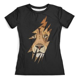 """Футболка с полной запечаткой (женская) """"Лев ( Lion)"""" - lion, лев, хищник, животное, царь зверей"""