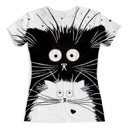 """Футболка с полной запечаткой (женская) """"Кот и Кошка"""" - кот, кошка, рисунок"""
