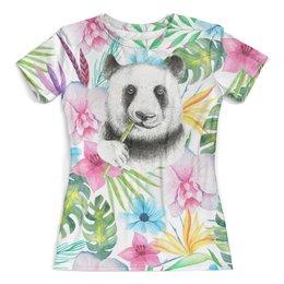 """Футболка с полной запечаткой (женская) """"Панда в листве"""" - панда, животные, природа, цветы, листья"""