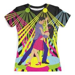 """Футболка с полной запечаткой (женская) """"Сальса в клубе"""" - дискотека, латина, танцпол, парные танцы"""