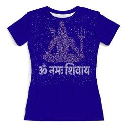 """Футболка с полной запечаткой (женская) """"Om Namah Shivaya и Господь Шива - вечернее небо"""" - индуизм, мантра, божество, санскрит, шива"""