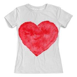 """Футболка с полной запечаткой (женская) """"Red heart"""" - сердце, красное сердце, большое сердце"""